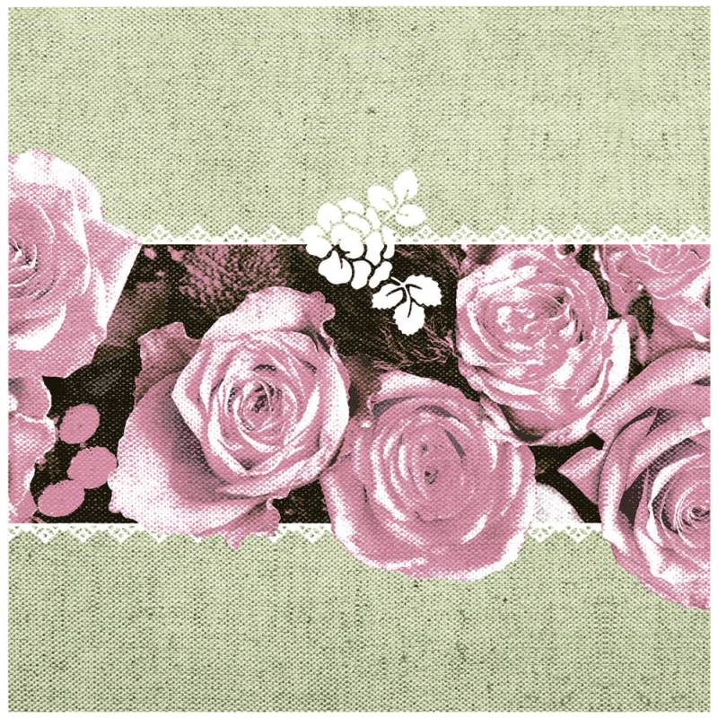 Image of   Middagsserviet, Lovely Roses, 1/4 fold, 40x40cm, rosa, Linclass/airlaid