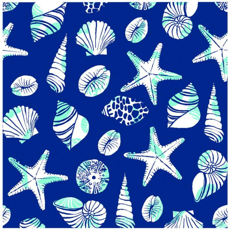 Image of   Middagsserviet, Beach, 1/4 fold, 40x40cm, blå, Linclass/airlaid