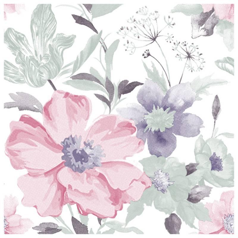Image of   Frokostserviet, ASP-Holmblad, 3-lags, 1/4 fold, 33x33cm, flerfarvet, papir, stor blomstret Rhododendron