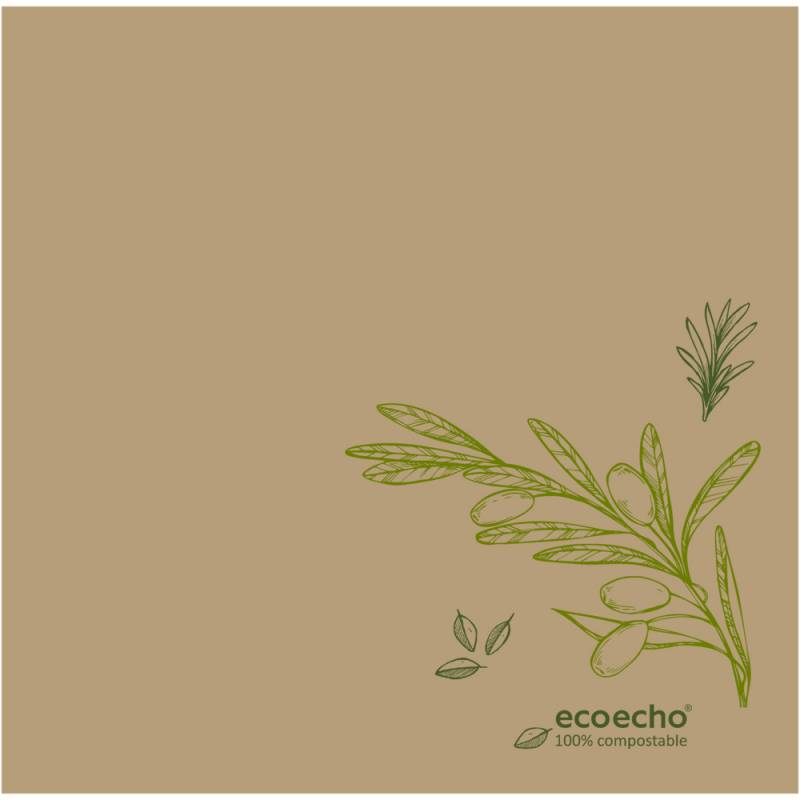 Image of   Middagsserviet, Dunisoft Veggies, 1/4 fold, 40x40cm, natur
