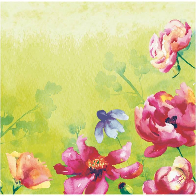 Image of   Middagsserviet, Dunisoft Garden Joy, 1/4 fold, 40x40cm, flerfarvet