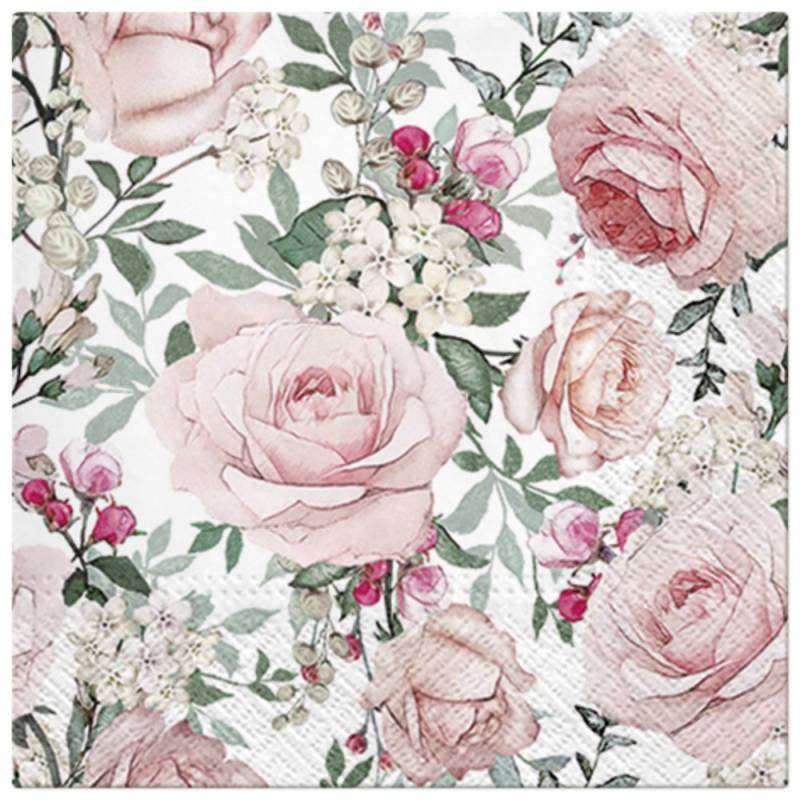 Image of   Frokostserviet , Gorgeous Roses, 3-lags, 1/4 fold, 33x33cm, flerfarvet, papir
