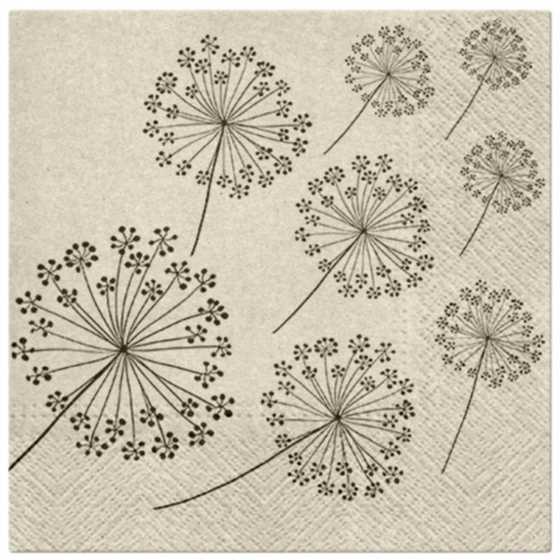 Image of   Frokostserviet, 3-lags, 1/4 fold, 33x33cm, brun, papir/recycle, 100% genbrug, Dandelions