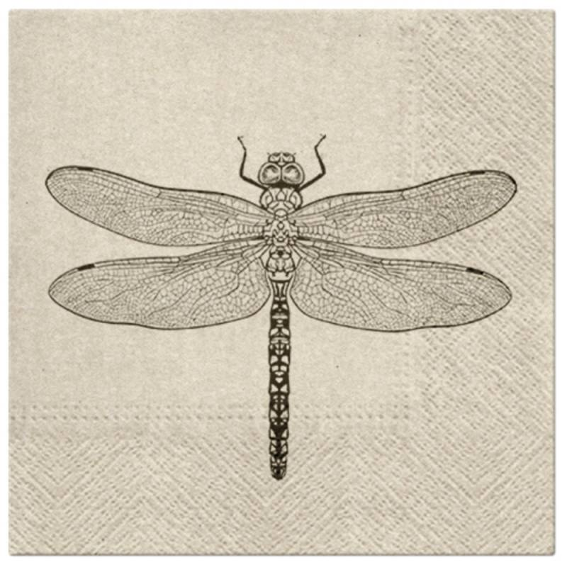 Image of   Frokostserviet, 3-lags, 1/4 fold, 33x33cm, brun, papir/recycle, 100% genbrug, Dragonfly