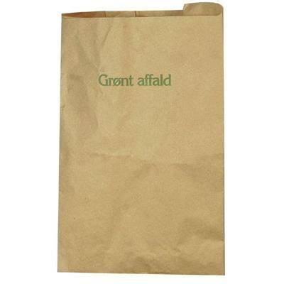 """Papirsæk, 1-lags, 10 l, brun, 35x39cm, vandtæt, påtrykt """"Grønt affald"""""""