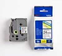 Labeltape Brother TZe251 24mm sort på hvid lamineret