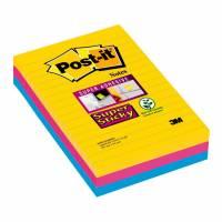 Post-it blok Super Sticky ass. linieret 101x152mm 3blk/pak Rio