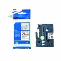 Labeltape Brother TZe-R251 24mmx4m sort på hvid satin