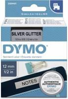 Labeltape Dymo D1 2084401 12mmx3m sort på sølv