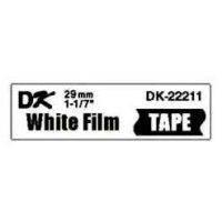 Label Brother hvid DK22211 29mm sort på hvid filmtape