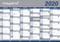 Vægkalender 2x6mdr rør papir 100x70cm 20 0640 00