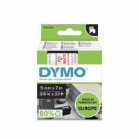 Labeltape DYMO D1 9mm rød på hvid