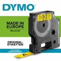 Labeltape DYMO D1 9mm sort på gul