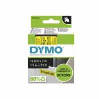 Labeltape DYMO D1 45018 S0720580 12mmx7m sort på gul