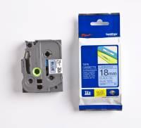 Labeltape Brother TZe541 18mm sort på blå lamineret