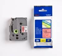 Labeltape Brother TZe441 18mm sort på rød lamineret