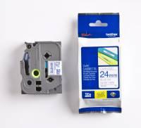 Labeltape Brother TZe253 24mm blå på hvid lamineret