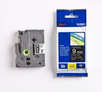 Labeltape Brother TZe325 9mm hvid på sort lammineret