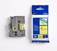 Labeltape Brother TZe-611 6mmx8m sort på gul lamineret