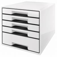 Skuffekabinet Leitz Desk Cube WOW 5-skuffer hvid/sort