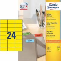 Etiket 70x37mm gul Avery 3451 24stk/ark 100ark/pak