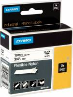 Labeltape DYMO Rhino 19mm sort på hvid nylon flex