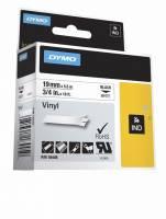Labeltape DYMO Rhino 19mmx5,5m sort på hvid vinyl
