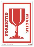 Etiketter selvkl. 150x210mm rød Forsigtig/glas 250stk/rul