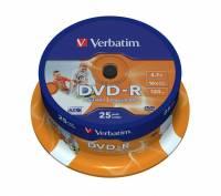 DVD-R Verbatim Wide Printable 25stk spindel 16X 43538