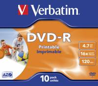 DVD-R Verbatim Wide Printable 10stk 16X 43521
