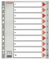 Plastregister Esselte 1-10 Maxi grå A4 m/kartonforblad