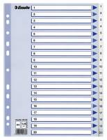 Register PP Esselte A4 1-20 m/hvid kartonforblad