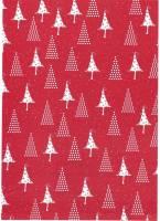 Gavepapir rød m/hvide juletræer 8777 65g Christmas trees 1 40cmx150m