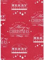 Gavepapir rød m/hvid skrift 8778 65g Merry Christmas 1 40cmx150m