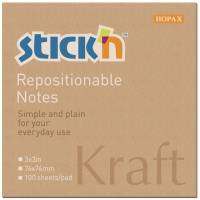 Notes Stick'N Kraftblock brun 76x76mm 100blade genbrug