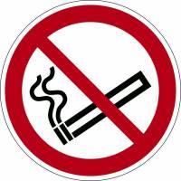Advarselsklistermærke Rygning forbudt Ø43cm 0,4mm hvid/rød