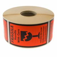 Etiket m/tekst Fragile Handle with care 120x70mm 1000stk/rul