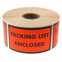 Etiketter selvkl. tryk: Packing List Enclosed 120x70mm 1000stk/rul
