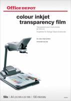 Transparenter Office DEPOT A4 farve inkjet 100mic 50stk/pak