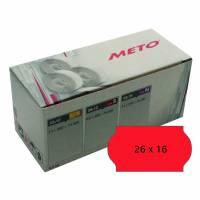 Prisetiket Meto 26x16mm neon rød permanent lim 2 1200stk/rul
