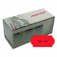 Prisetiket Meto 26x12mm neon rød permanent lim 2 1500stk/rul
