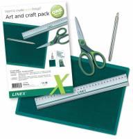 Hobbysæt Linex incl. kniv skæreplade, lineal, saks