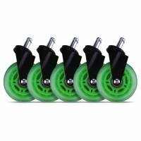 Hjul t/L33T gaming stol grønne bløde 5stk/pak