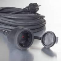 Gummikabel til udendørsbrug 20m sort H05RR-F 3G1.5