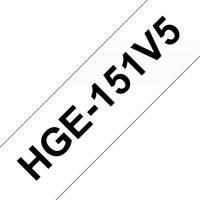 Labeltape Brother HGe-151V5 24mmx8m sort på klar 5stk/pak