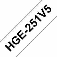 Labeltape Brother HGe-251V5 24mmx8m sort på hvid 5stk/pak