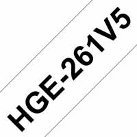 Labeltape Brother HGe-261V5 36mmx8m sort på hvid 5stk/pak