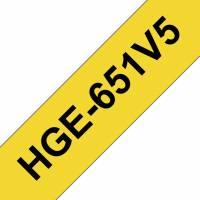Labeltape Brother HGe-651V5 24mmx8m sort på gul 5stk/pak