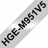 Labeltape Brother HGe-M951V5 24mmx8m sort på matsølv 5stk/pak