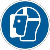 Påbudsskilt Ansigtsvisir påbudt Ø43cm 0,2mm aftagelig blå